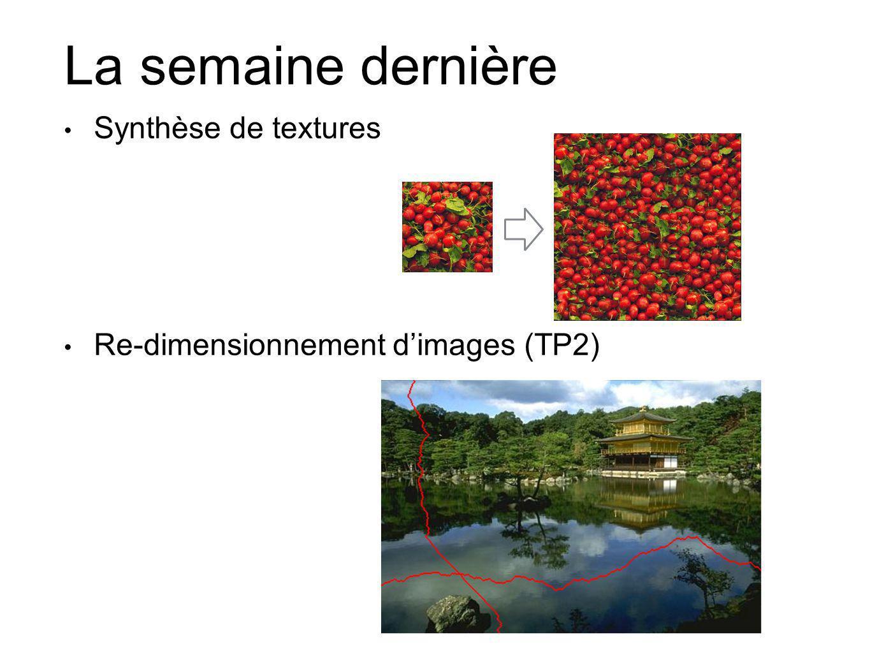 La semaine dernière Synthèse de textures Re-dimensionnement dimages (TP2)