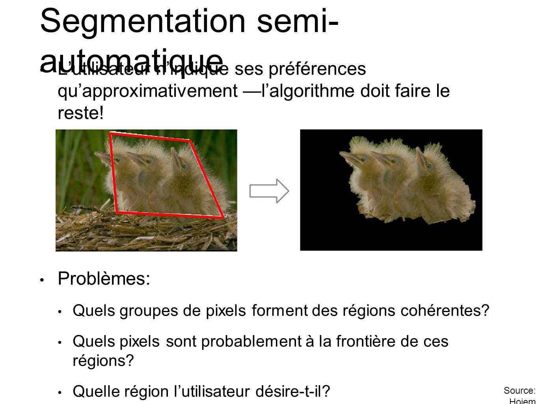 Segmentation semi- automatique Lutilisateur nindique ses préférences quapproximativement lalgorithme doit faire le reste.