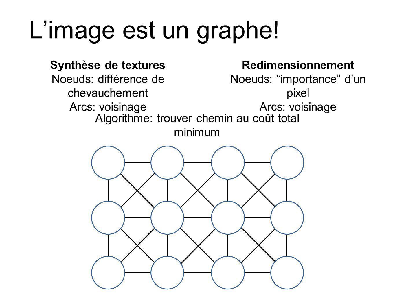 Lalgorithme de Dijkstra Initialisation, étant donné origine o cout(o) = 0, cout(autres pixels) = Inf A = {o}, pixels à visiter V = { }, pixels visités P(q), pointeur vers pixel qui mène vers q Tant que A nest pas vide: q = pixel dans A au coût minimum Retirer q de A, rajouter dans V (nous lavons visité) Pour chaque pixel p dans le voisinage de q et qui nest pas dans V: cout_tmp = cout(q) + cout2(q,p) Si (r nest pas dans A) OU (cout_tmp < cout(p)) cout(p) = cout_tmp P(p) = q Rajouter p à A Source: Hoiem