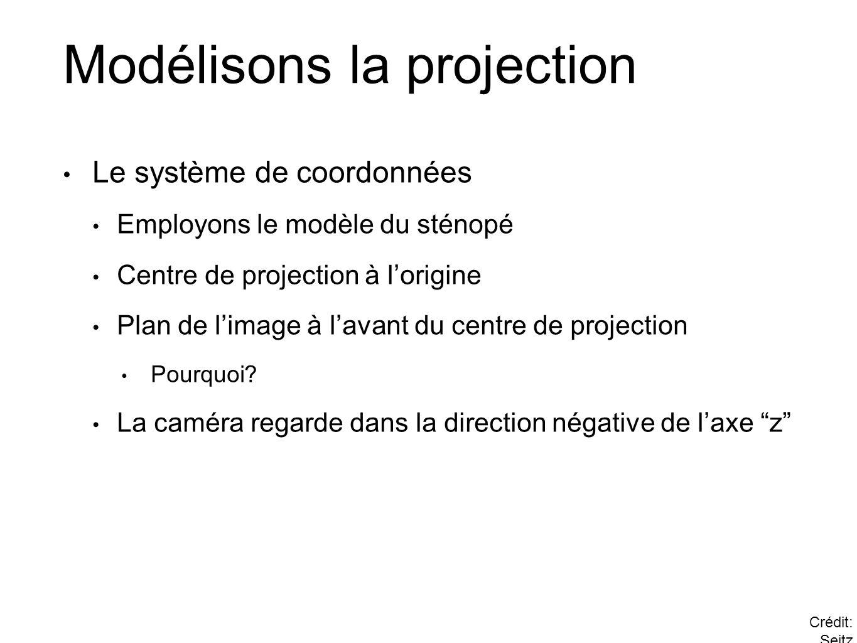 Modélisons la projection Le système de coordonnées Employons le modèle du sténopé Centre de projection à lorigine Plan de limage à lavant du centre de projection Pourquoi.