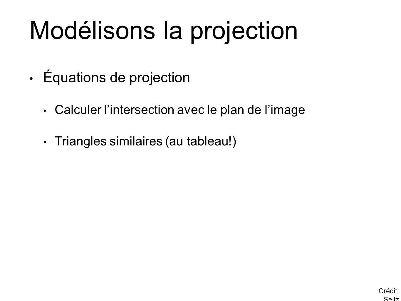 Modélisons la projection Équations de projection Calculer lintersection avec le plan de limage Triangles similaires (au tableau!) Crédit: Seitz