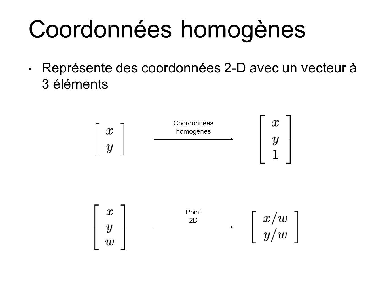 Coordonnées homogènes Représente des coordonnées 2-D avec un vecteur à 3 éléments Coordonnées homogènes Point 2D