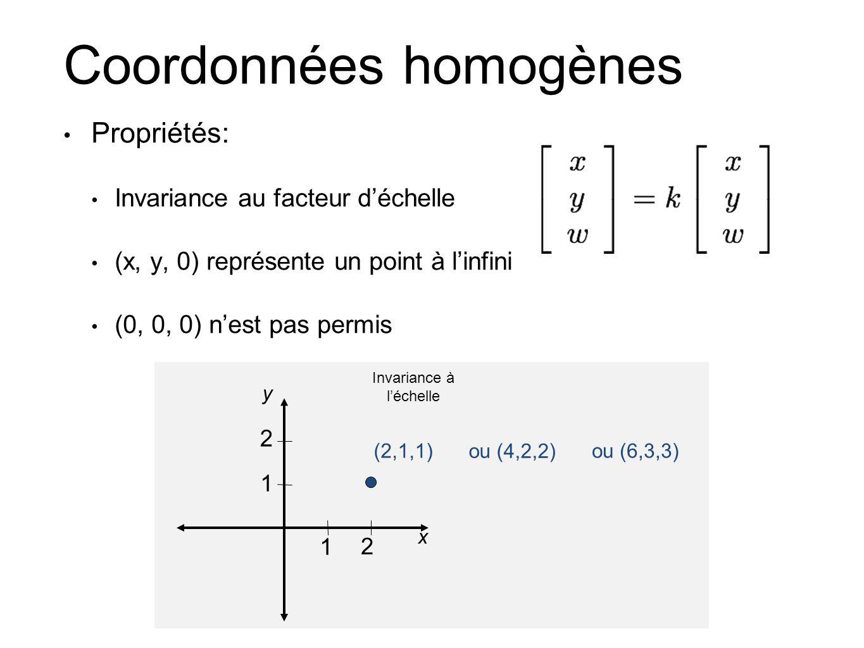 Coordonnées homogènes Propriétés: Invariance au facteur déchelle (x, y, 0) représente un point à linfini (0, 0, 0) nest pas permis 1 2 1 2 (2,1,1) ou (4,2,2) ou (6,3,3) x y Invariance à léchelle