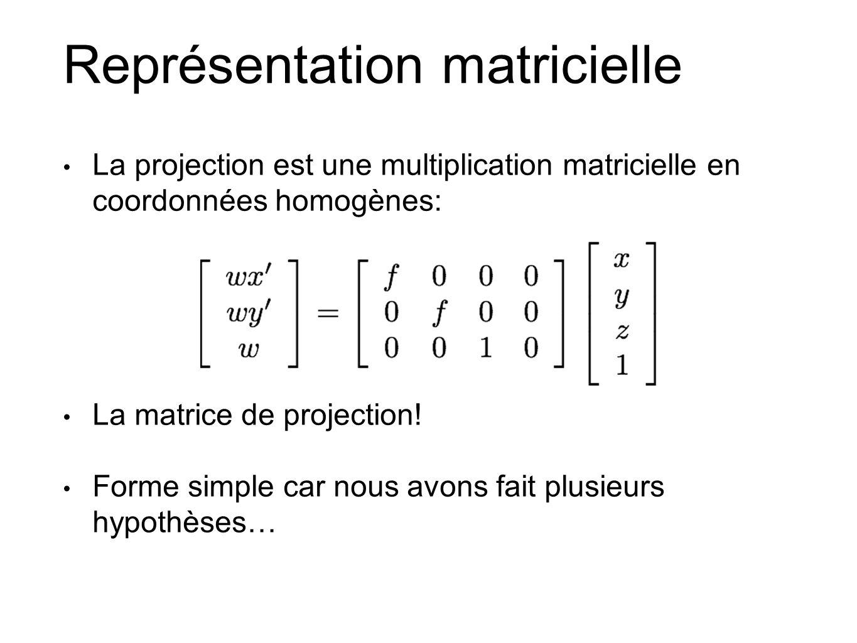 Représentation matricielle La projection est une multiplication matricielle en coordonnées homogènes: La matrice de projection.
