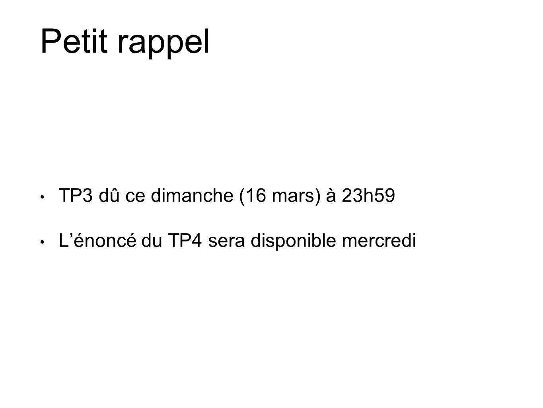Petit rappel TP3 dû ce dimanche (16 mars) à 23h59 Lénoncé du TP4 sera disponible mercredi