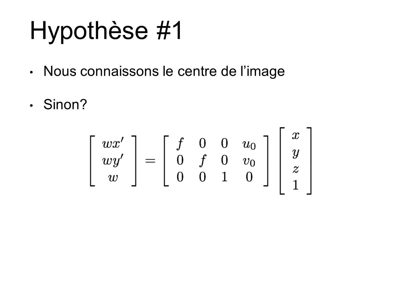 Hypothèse #1 Nous connaissons le centre de limage Sinon?