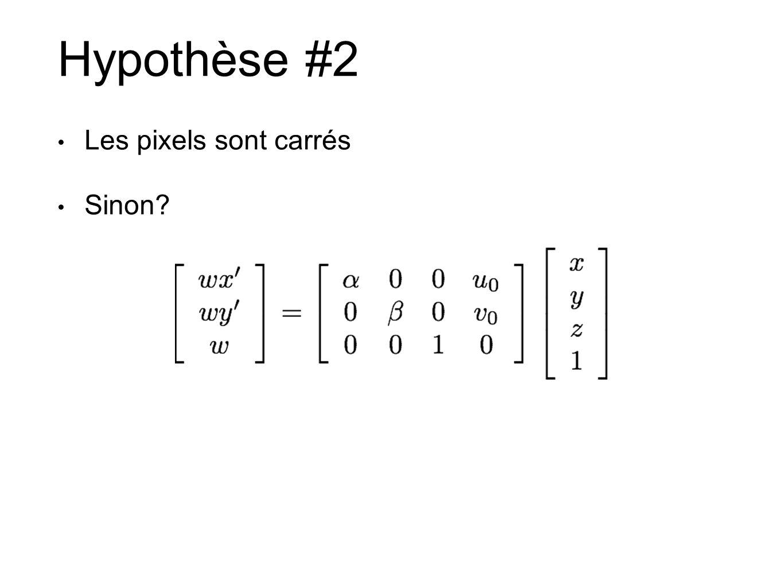 Hypothèse #2 Les pixels sont carrés Sinon?