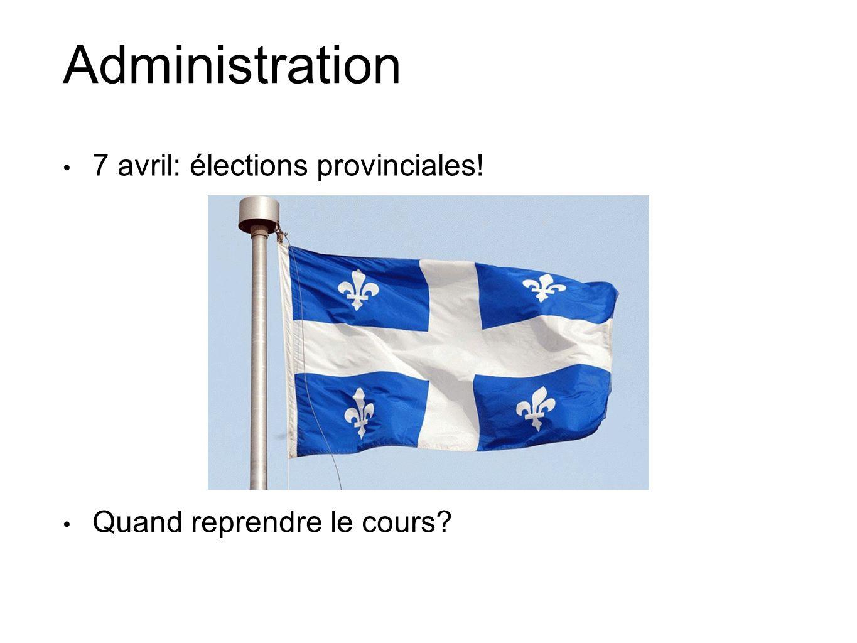 Administration 7 avril: élections provinciales! Quand reprendre le cours?
