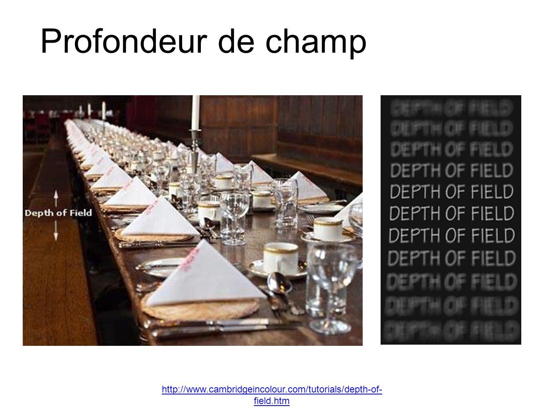 Profondeur de champ http://www.cambridgeincolour.com/tutorials/depth-of- field.htm
