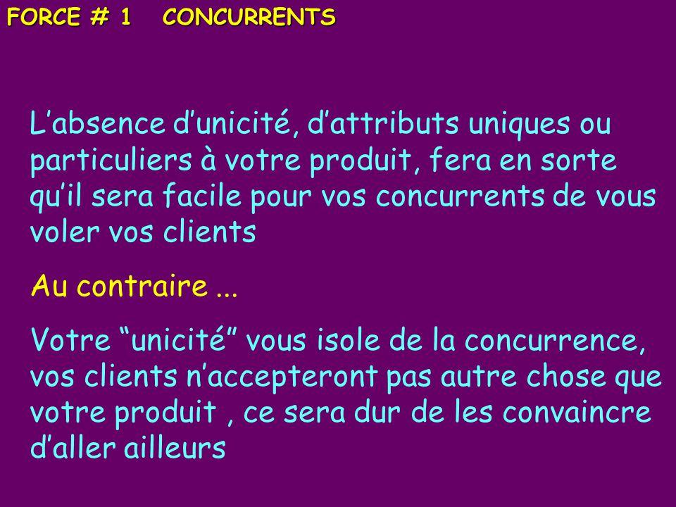 FORCE # 1 CONCURRENTS Labsence dunicité, dattributs uniques ou particuliers à votre produit, fera en sorte quil sera facile pour vos concurrents de vous voler vos clients Au contraire...