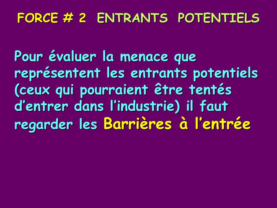 FORCE # 2 ENTRANTS POTENTIELS Pour évaluer la menace que représentent les entrants potentiels (ceux qui pourraient être tentés dentrer dans lindustrie) il faut regarder les Barrières à lentrée