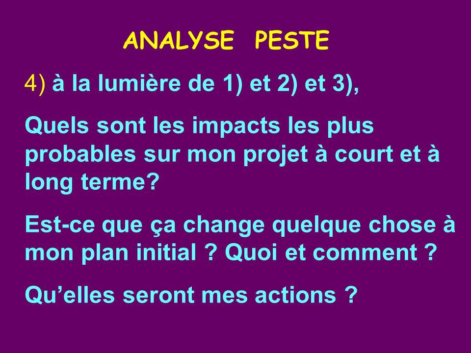 ANALYSE PESTE 4) à la lumière de 1) et 2) et 3), Quels sont les impacts les plus probables sur mon projet à court et à long terme.
