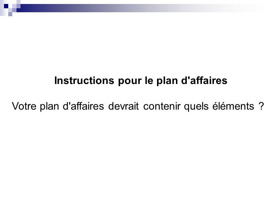 Instructions pour le plan d affaires Votre plan d affaires devrait contenir quels éléments ?