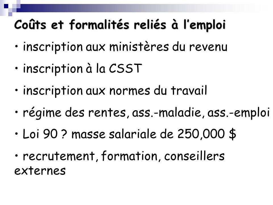 Coûts et formalités reliés à lemploi inscription aux ministères du revenu inscription à la CSST inscription aux normes du travail régime des rentes, a