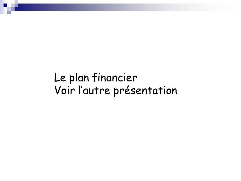Le plan financier Voir lautre présentation