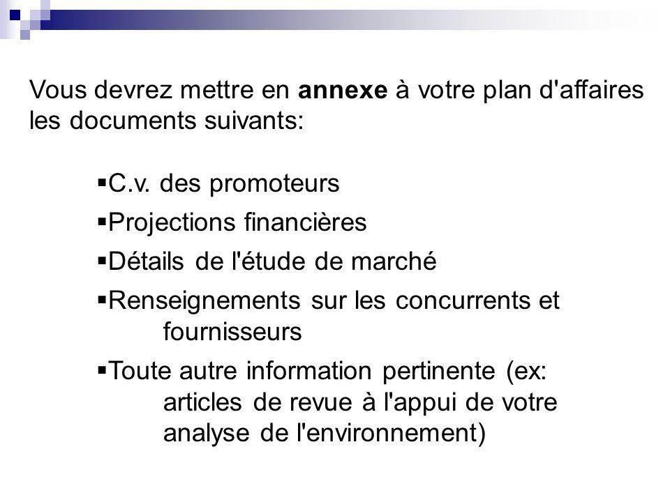 Vous devrez mettre en annexe à votre plan d'affaires les documents suivants: C.v. des promoteurs Projections financières Détails de l'étude de marché