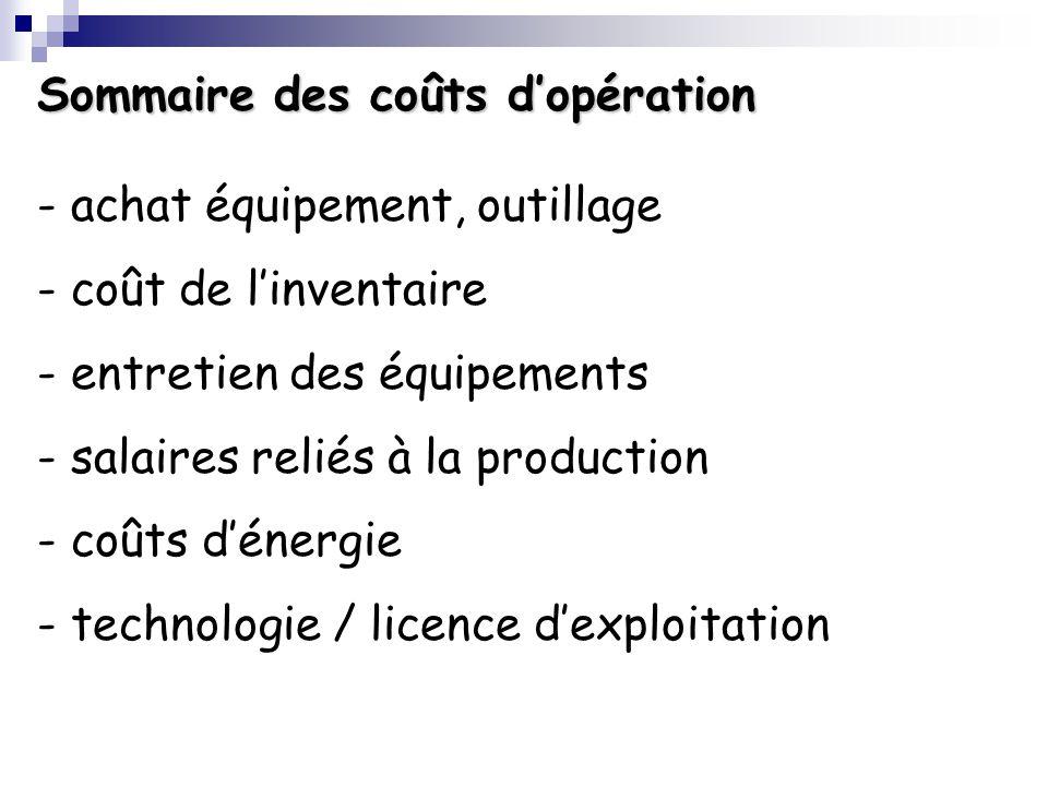 Sommaire des coûts dopération - achat équipement, outillage - coût de linventaire - entretien des équipements - salaires reliés à la production - coûts dénergie - technologie / licence dexploitation
