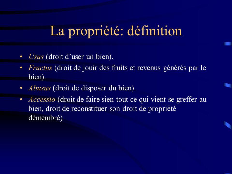 La propriété: définition Usus (droit duser un bien). Fructus (droit de jouir des fruits et revenus générés par le bien). Abusus (droit de disposer du