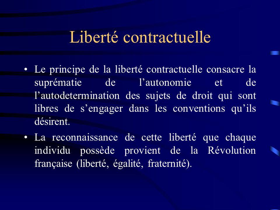 Liberté contractuelle Le principe de la liberté contractuelle consacre la suprématie de lautonomie et de lautodetermination des sujets de droit qui so
