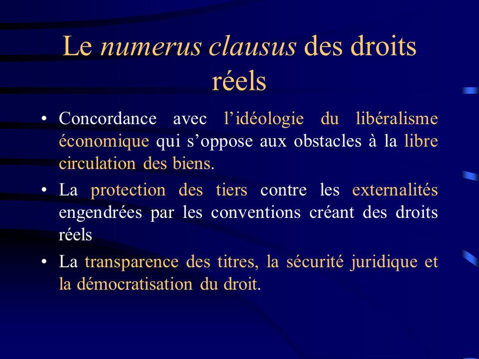 Le numerus clausus des droits réels Concordance avec lidéologie du libéralisme économique qui soppose aux obstacles à la libre circulation des biens.