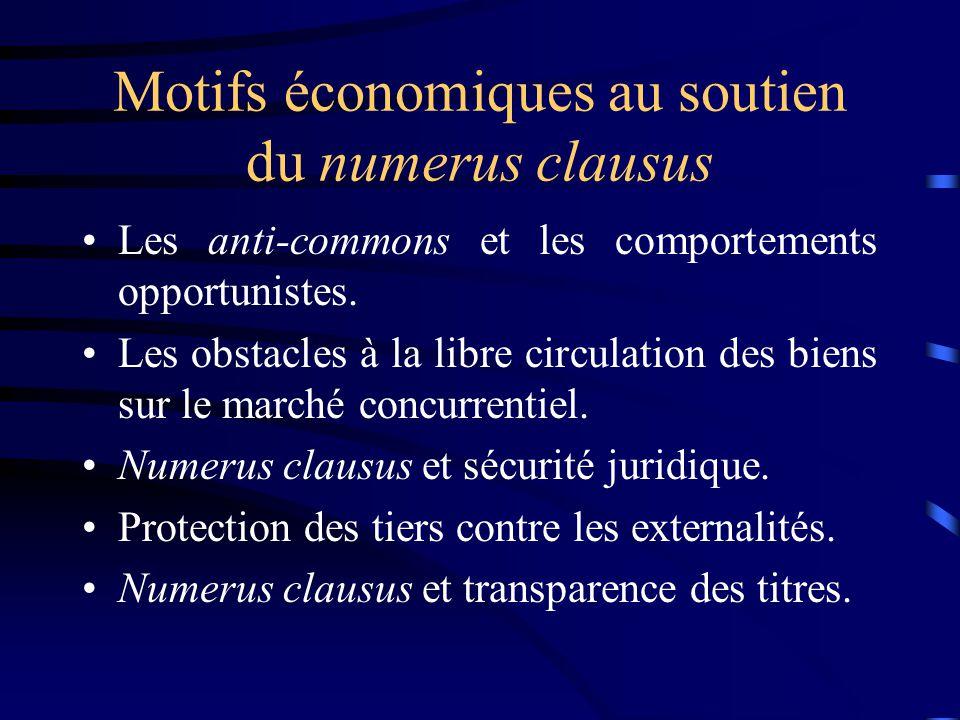 Motifs économiques au soutien du numerus clausus Les anti-commons et les comportements opportunistes. Les obstacles à la libre circulation des biens s