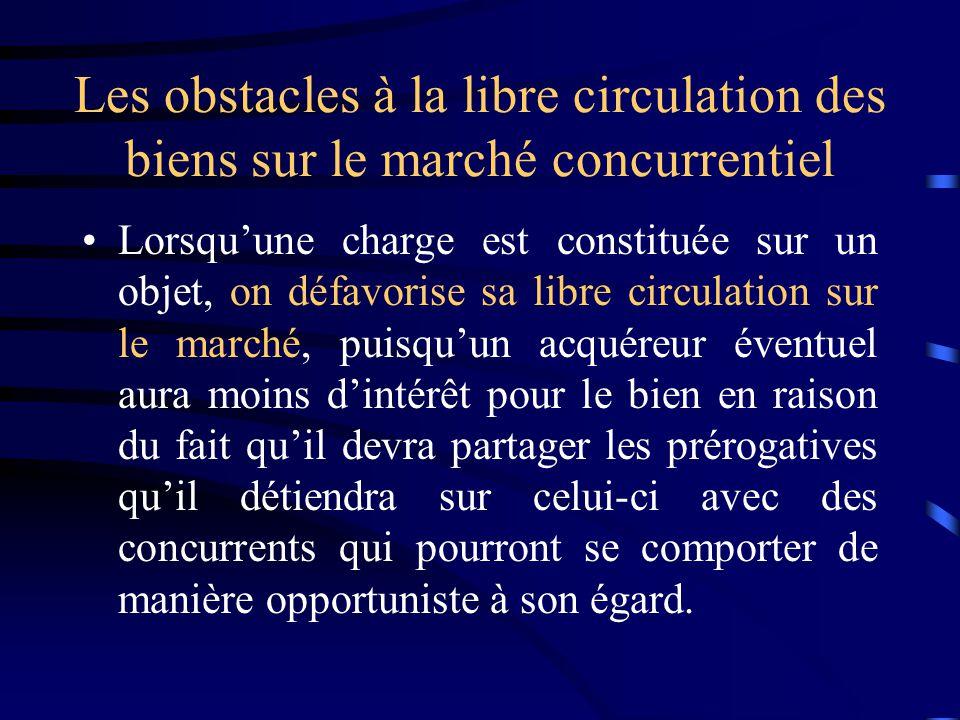 Les obstacles à la libre circulation des biens sur le marché concurrentiel Lorsquune charge est constituée sur un objet, on défavorise sa libre circul
