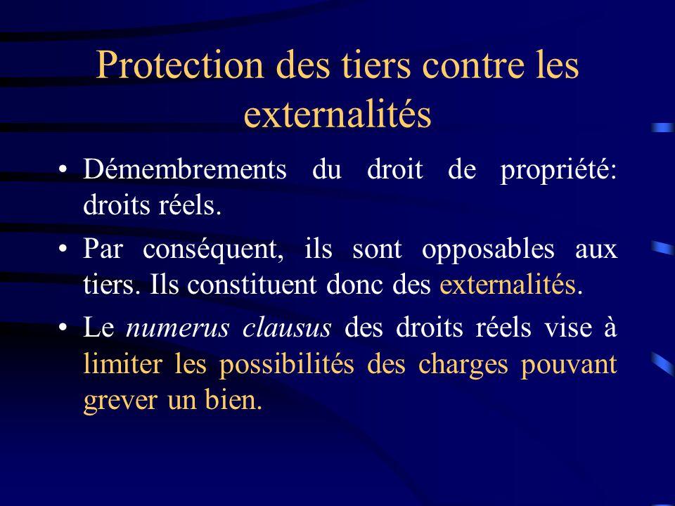 Protection des tiers contre les externalités Démembrements du droit de propriété: droits réels. Par conséquent, ils sont opposables aux tiers. Ils con