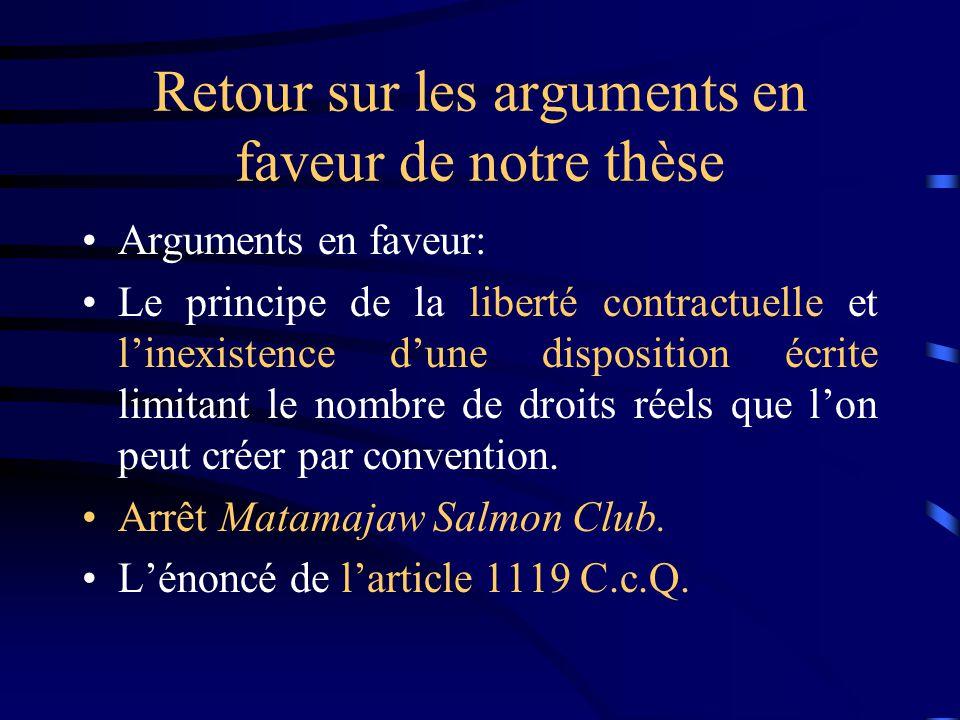 Retour sur les arguments en faveur de notre thèse Arguments en faveur: Le principe de la liberté contractuelle et linexistence dune disposition écrite