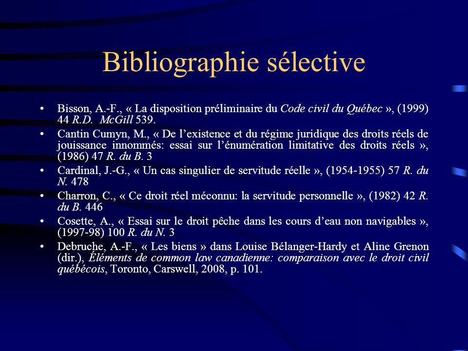 Bibliographie sélective Bisson, A.-F., « La disposition préliminaire du Code civil du Québec », (1999) 44 R.D. McGill 539. Cantin Cumyn, M., « De lexi
