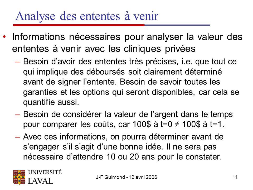 J-F Guimond - 12 avril 200611 Analyse des ententes à venir Informations nécessaires pour analyser la valeur des ententes à venir avec les cliniques privées –Besoin davoir des ententes très précises, i.e.
