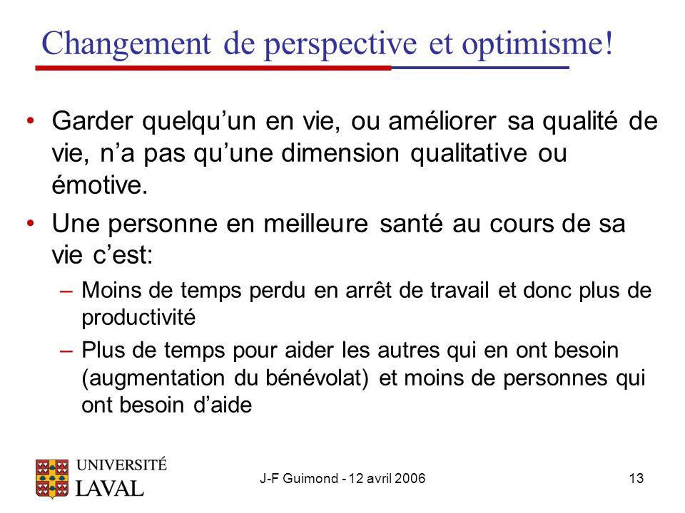 J-F Guimond - 12 avril 200613 Changement de perspective et optimisme.