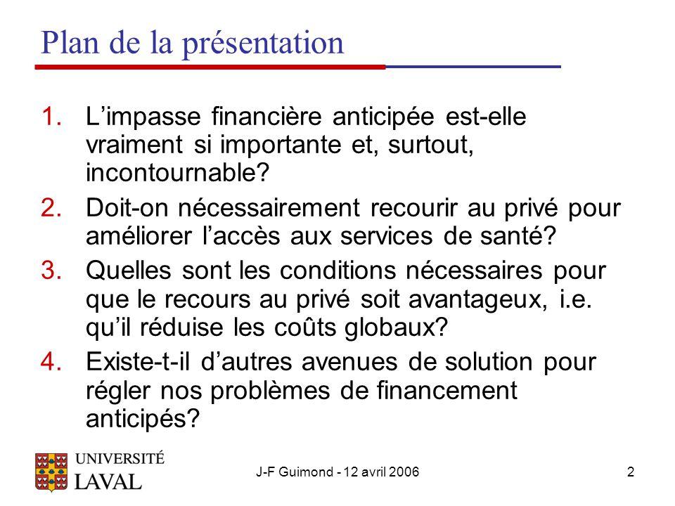 J-F Guimond - 12 avril 20062 Plan de la présentation 1.Limpasse financière anticipée est-elle vraiment si importante et, surtout, incontournable.