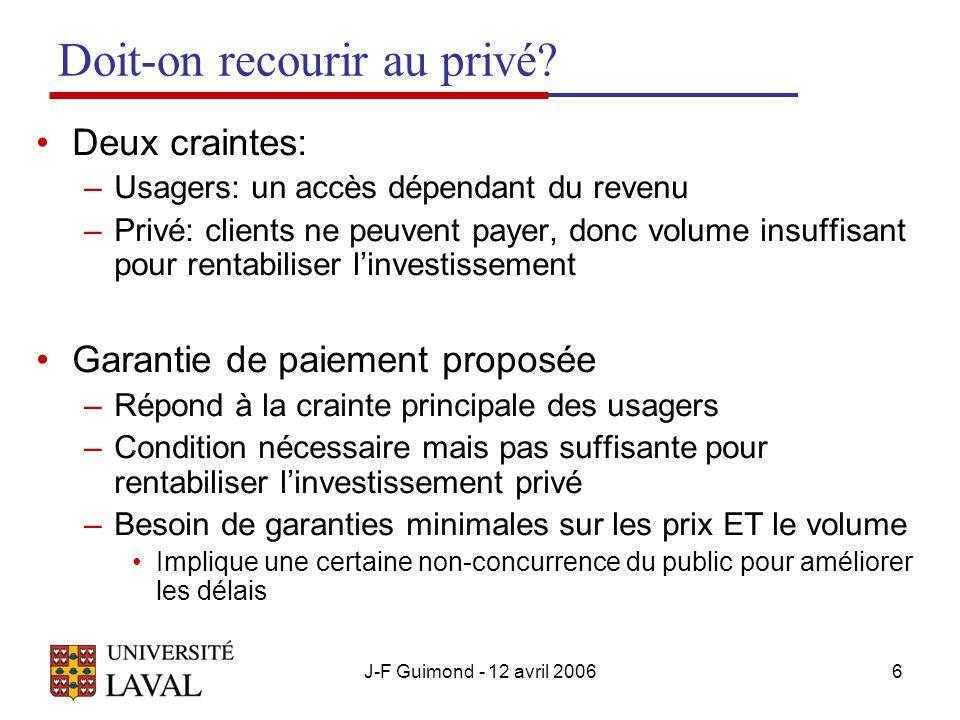 J-F Guimond - 12 avril 20066 Doit-on recourir au privé.