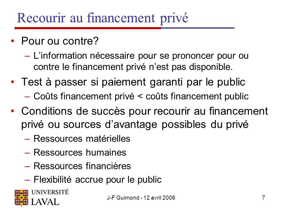 J-F Guimond - 12 avril 20067 Recourir au financement privé Pour ou contre.