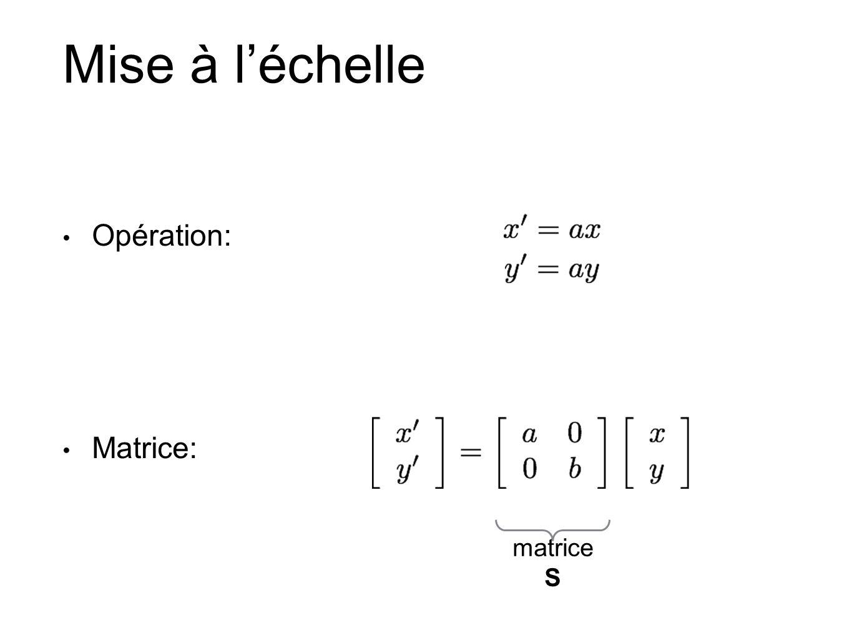 Mise à léchelle Opération: Matrice: matrice S