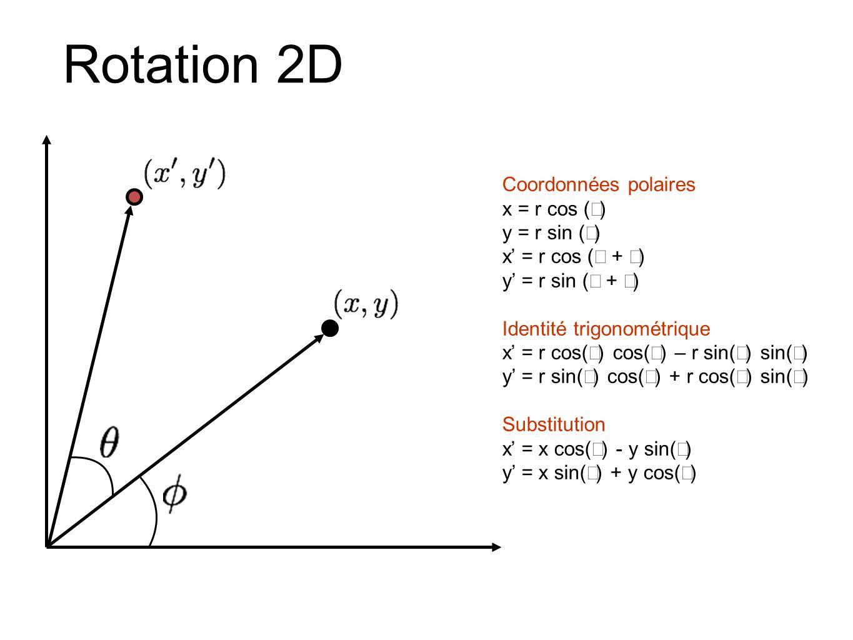 Coordonnées polaires x = r cos ( ) y = r sin ( ) x = r cos ( + ) y = r sin ( + ) Identité trigonométrique x = r cos( ) cos( ) – r sin( ) sin( ) y = r