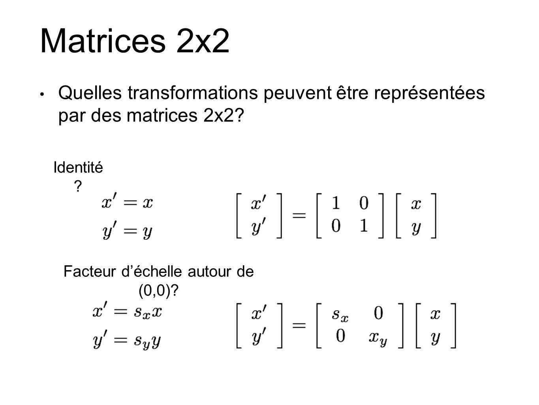 Matrices 2x2 Quelles transformations peuvent être représentées par des matrices 2x2? Identité ? Facteur déchelle autour de (0,0)?