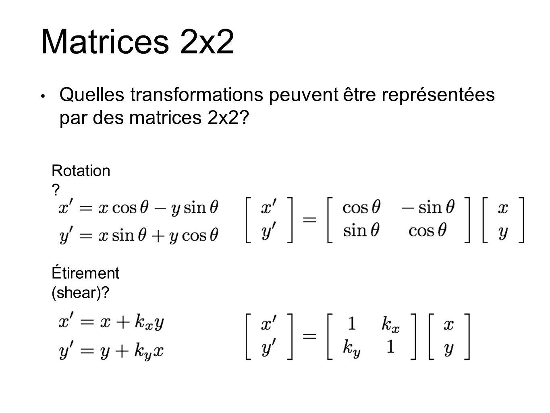 Matrices 2x2 Quelles transformations peuvent être représentées par des matrices 2x2? Rotation ? Étirement (shear)?