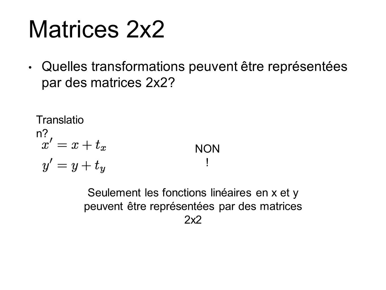 Matrices 2x2 Quelles transformations peuvent être représentées par des matrices 2x2? Translatio n? NON ! Seulement les fonctions linéaires en x et y p