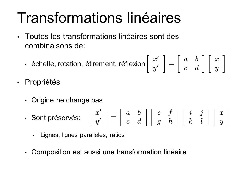 Transformations linéaires Toutes les transformations linéaires sont des combinaisons de: échelle, rotation, étirement, réflexion Propriétés Origine ne