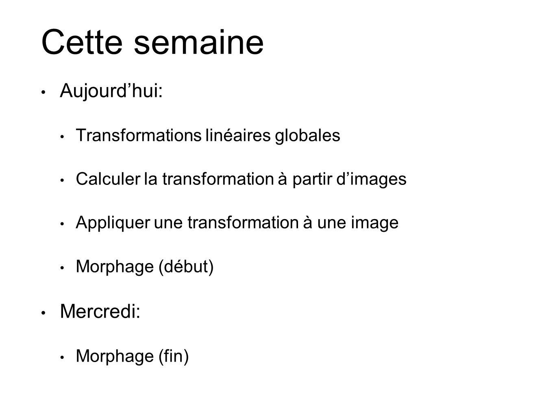 Cette semaine Aujourdhui: Transformations linéaires globales Calculer la transformation à partir dimages Appliquer une transformation à une image Morp