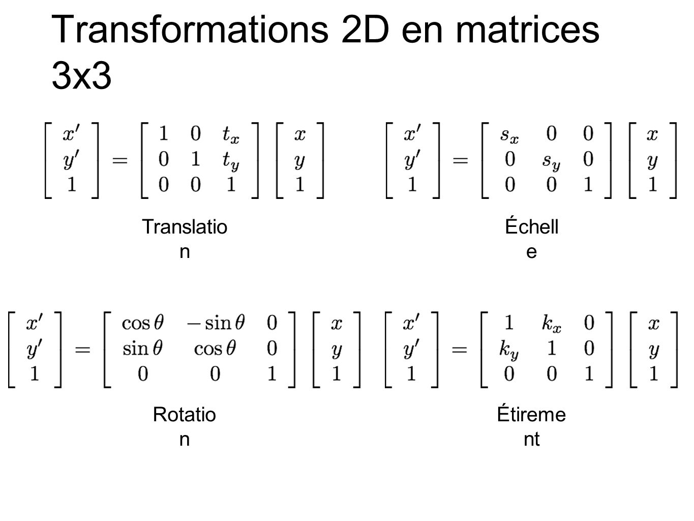 Transformations 2D en matrices 3x3 Translatio n Rotatio n Étireme nt Échell e