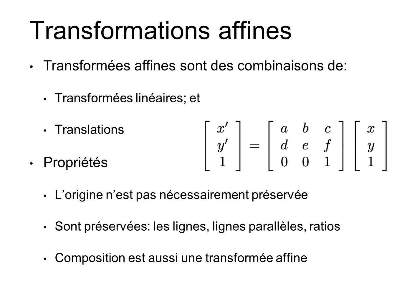 Transformations affines Transformées affines sont des combinaisons de: Transformées linéaires; et Translations Propriétés Lorigine nest pas nécessaire
