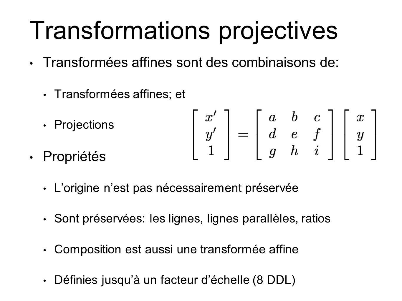 Transformations projectives Transformées affines sont des combinaisons de: Transformées affines; et Projections Propriétés Lorigine nest pas nécessair