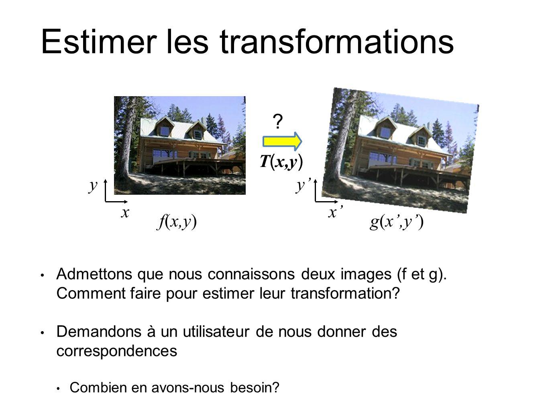 Estimer les transformations Admettons que nous connaissons deux images (f et g). Comment faire pour estimer leur transformation? Demandons à un utilis