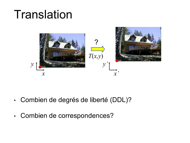 Translation Combien de degrés de liberté (DDL)? Combien de correspondences? xx T(x,y) yy ?
