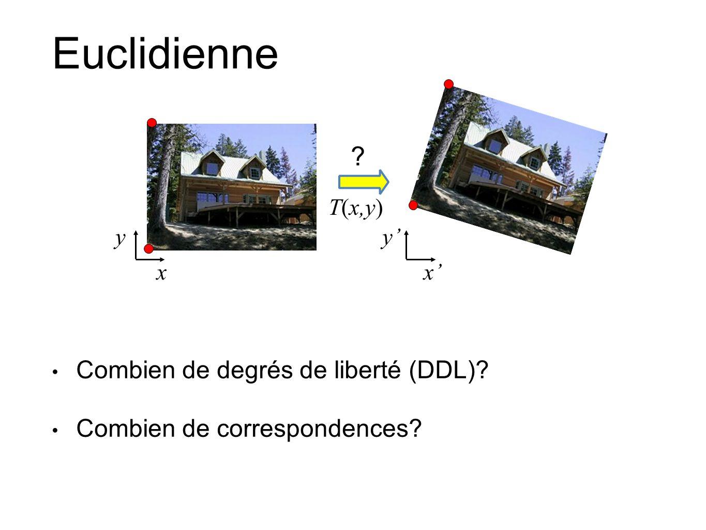 Euclidienne Combien de degrés de liberté (DDL)? Combien de correspondences? xx T(x,y) yy ?