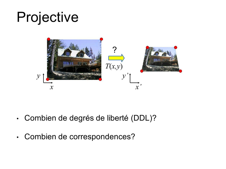 Projective Combien de degrés de liberté (DDL)? Combien de correspondences? xx T(x,y) yy ?