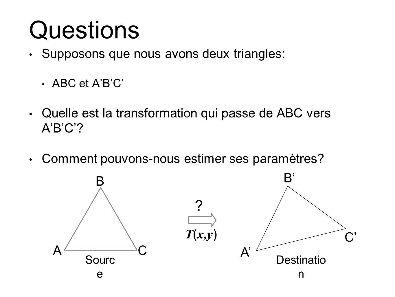 Questions Supposons que nous avons deux triangles: ABC et ABC Quelle est la transformation qui passe de ABC vers ABC? Comment pouvons-nous estimer ses