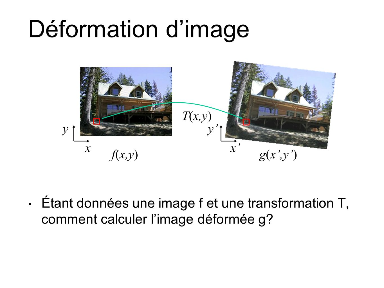 Déformation dimage Étant données une image f et une transformation T, comment calculer limage déformée g? xx T(x,y) f(x,y)g(x,y) yy